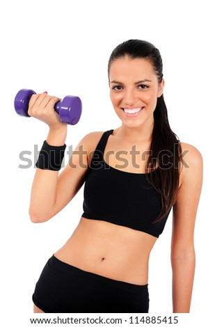 Isolated young fitness woman - stock photo