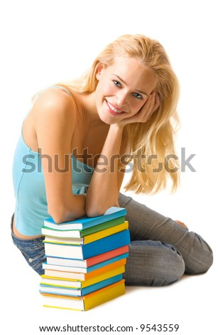 Isolated young happy beautiful woman with books - stock photo