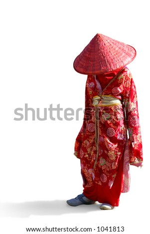 Isolated Young Japanese Girl - stock photo