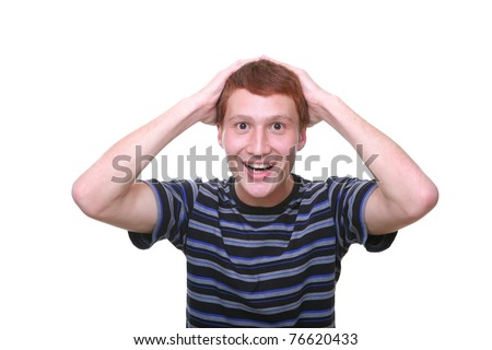 isolated young man amazed looking happy - stock photo