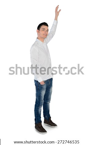 Isolated young man grab something - stock photo