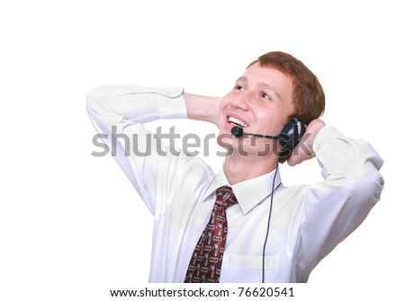 isolated young man operator with headset resting