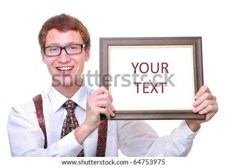 isolated young man student smiling holding certificate in frame