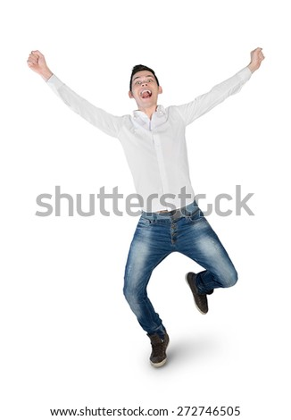 Isolated young man winner hands up - stock photo