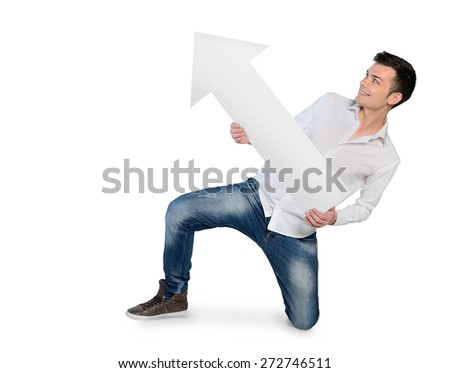 Isolated young man with empty arrow - stock photo