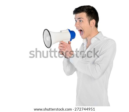 Isolated young man with megaphone - stock photo