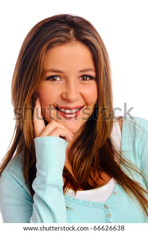 Isolated young woman poses with a sweet smile - stock photo