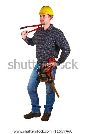 Isolated young worker with tools 2 - stock photo
