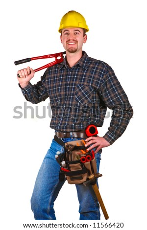 Isolated young worker with tools 4 - stock photo