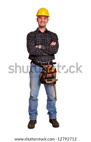 Isolated young worker with tools 7 - stock photo