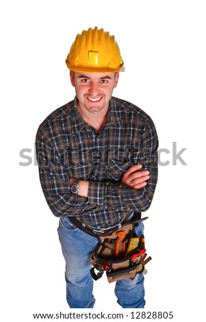 Isolated young worker with tools 9