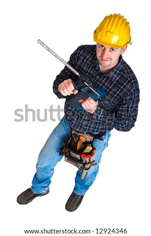 Isolated young worker with tools 12