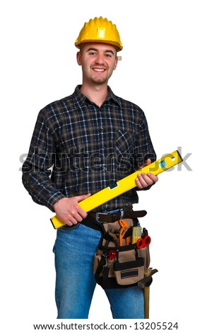 Isolated young worker with tools 16