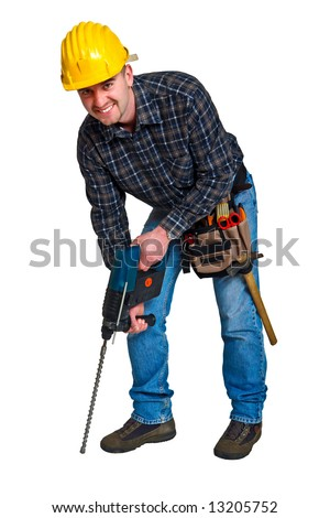 Isolated young worker with tools 17