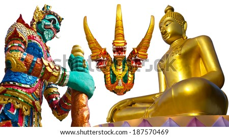 Isolates giant, Buddha, abstract religious serpent heads  - stock photo