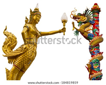 Isolates golden angel statue holding a torch with the Dragon thousand pillars.