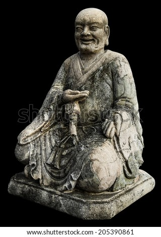 Isolates monk statues Chinese old antique weathered a long time. - stock photo