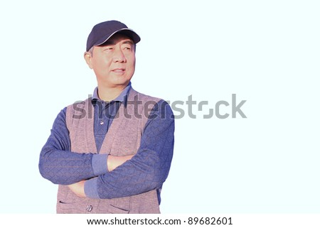 Isolation closeup portrait of a senior asian man standing on white background looking right - stock photo