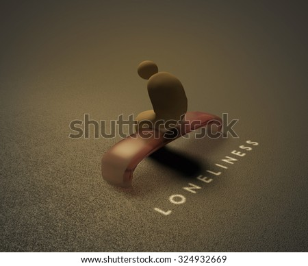 Isolation 3D visualization of an isolated human sitting on a bench and behind him is written word isolation.  - stock photo