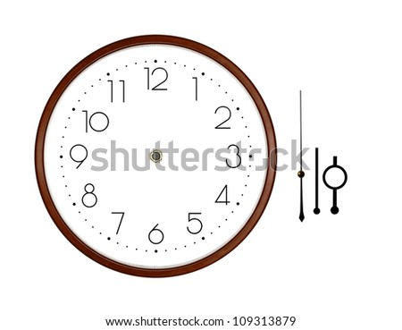 Isolation in the clock on white background - stock photo