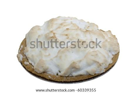 Isolation lemon meringue pie against white background - stock photo