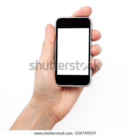 Isolation man hand holding the phone tablet touch computer gadget. - stock photo