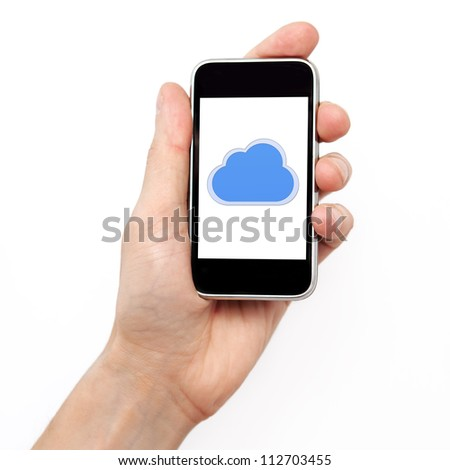 Isolation man hand holding the phone tablet touch computer gadget with the image of cloud - stock photo
