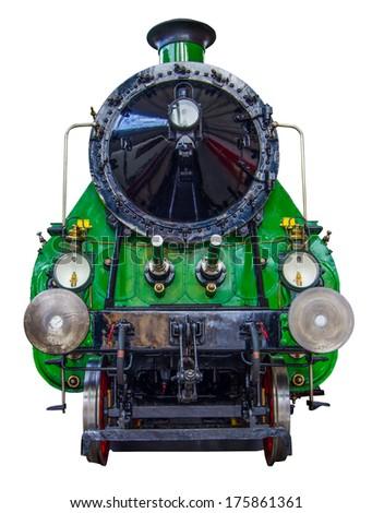 Isolation Of A Huge Green Vintage Steam Train - stock photo