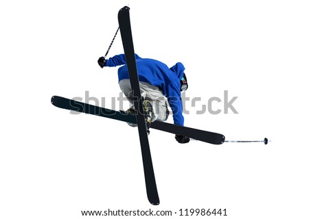 Isolation of a ski jumper performing a front grab with crossed skis, against a white background - stock photo