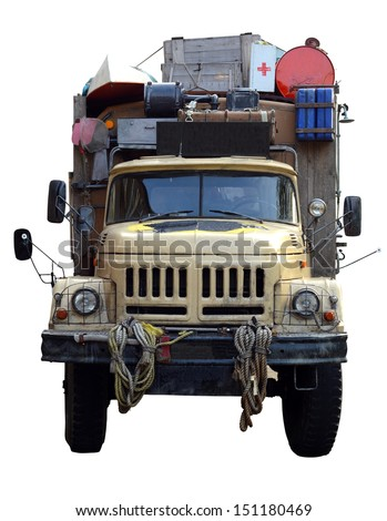 Isolation Of A Vintage Desert Expedition Truck