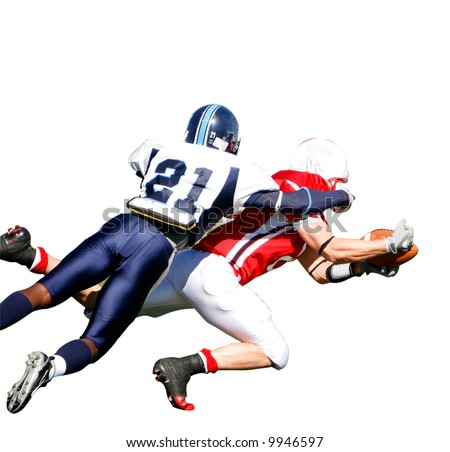 Isolation of American Football players in game. Clipping Path included. - stock photo