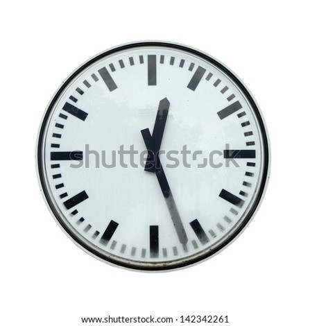 Isolation Of Grungy Station Clock With Clipping Path - stock photo