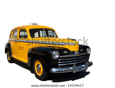 Isolation of vintage antique yellow taxi cab. - stock photo