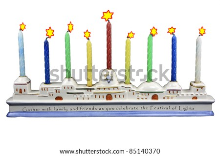 Isolation on white of a ceramic Menorah with colored candles and Star of David Flames - stock photo