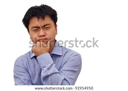 Isolation photo of an asian businessman thinking hard - stock photo