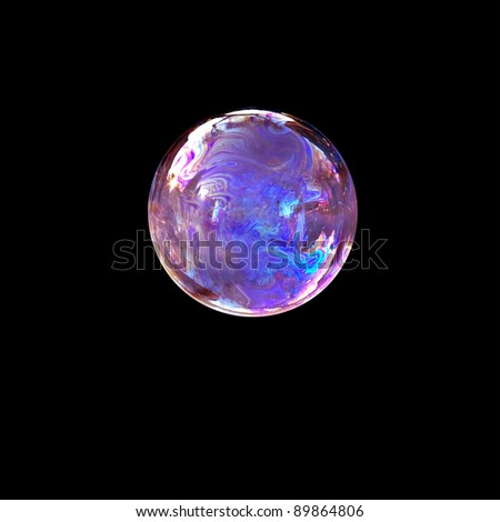 Isolation soap bubble in black background, with reflection forms an abstract face - stock photo