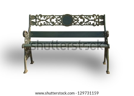 Isolation steel bench with shadows. - stock photo