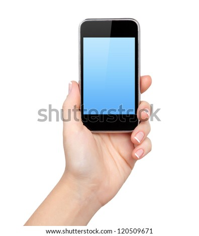 Isolation woman hand holding the phone - stock photo