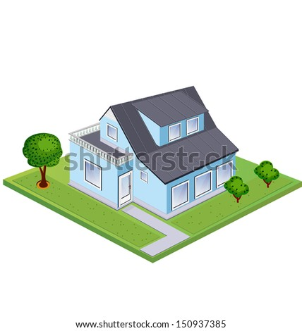 Isometric at home against the backdrop of green lawn and trees - stock photo
