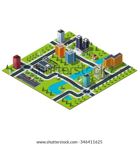 Isometric big city map. Crossroads and road markings illustration. Bridge over the wide river in downtown. Hospital, bakery and central parking illustration.