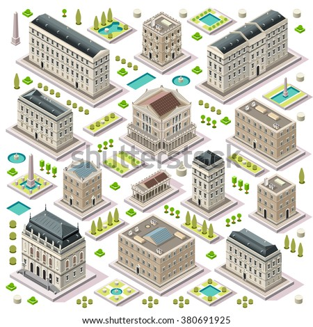 Isometric Building City Palace Private Real Estate. Public Buildings Collection Luxury Hotel Gardens. Isometric Tiles.3d Urban Building Map Illustration Elements Set Infographic Business Game