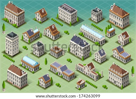 Isometric Building City Palace Private Real Estate.Public Buildings Collection Luxury Hotel Gardens. Isometric Building Tiles.3d Urban Buildings Map Illustration Elements Set Infographic Business Game