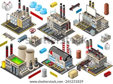 Isometric Building Factory Set - Industry Power Plant - stock photo