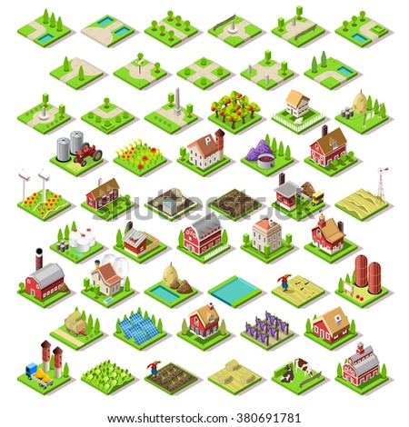 Isometric Building Farm Elements Set. Rural Farm City Map Tiles 3D Flat Ville Building Icon Set. Agriculture Rural Spring Farmland American Building Isolated Illustration Set. Western Village Country - stock photo