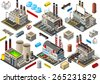 Isometric Buildings. Industrial Factory Set. Flat 3D Urban City Map Isolated Elements  Isometric Industrial Building Infographic Game Tiles Collection. Urban Farm Map Industry Image Business Set - stock vector