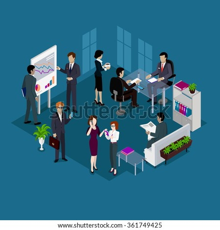 Isometric business people design. Business meeting, business man, group of business people, business team, businessman work, woman worker, office illustration. Raster version - stock photo
