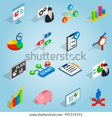 Isometric Business Plan Icons Set Vector Stock Vector