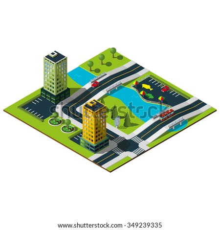 Isometric city . Bridge over the river in downtown. Central quay illustration.