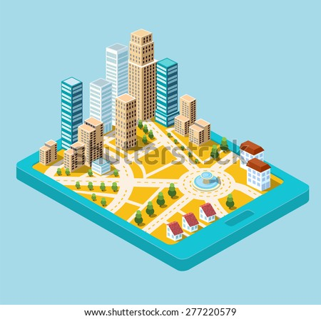 Isometric city center on the map with lots of buildings, skyscrapers, factories, and parks. Picture in style flat