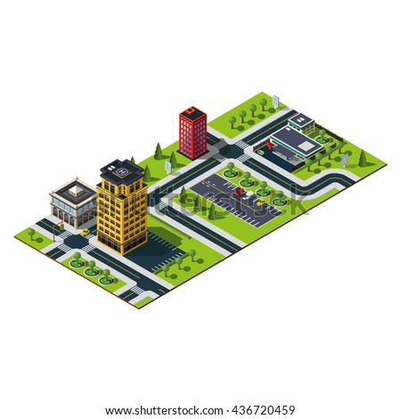 Isometric city district. Bank building icon. Office building, mall building and central parking illustration.